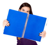 Beautiful student with a blue notebook — Stock Photo