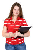 Beautiful student with her notebook — Stock Photo