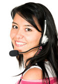 Casual girl with headset — Stock Photo