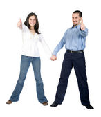 Beautiful couple thumbs up — Stock Photo