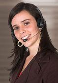 Güzel müşteri destek kız - kahverengi — Stok fotoğraf