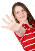 Beautiful girl with hand in front — Stock Photo
