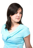 Casual Female Portrait - cyan — Stock Photo