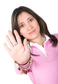 Casual woman with hand in front — Stock Photo