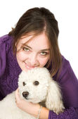 Casual Female Portrait with her dog — Stock Photo