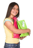 Beautiful latin girl shopping — Stock Photo