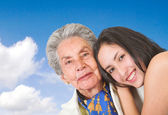 Happy grand mother with her grand daughter — Stock Photo
