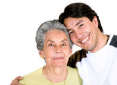 Grandson and grandmother — Stock Photo