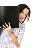 Beautiful student with a notebook — Stock Photo