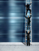 Corporate ladder - blue version — Stock Photo