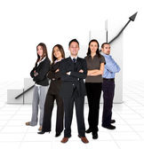 Business team in front of a graph — Stockfoto
