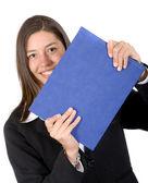 Cartella blu holding business donna — Foto Stock