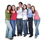 Casual group - thumbs up — Stock Photo