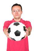 Guy occasionnel avec le football — Photo