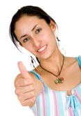Girl - thumbs up — Stock Photo