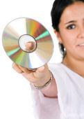 Compact disc - woman — Stock Photo