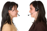 Customer support face to face — Stock Photo