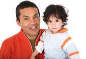 отец и сын над белой — Стоковое фото