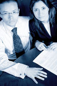 Business partners in cyan — Stock Photo