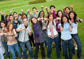 Large group with thumbs up — Stock Photo