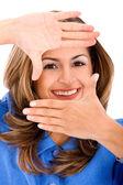 Rosto de mulher emoldurada — Foto Stock
