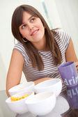 Woman thinking on food — Stock Photo