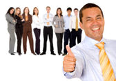 Business man with thumbs up — Stock Photo