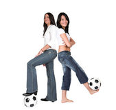 Footballer girls — Stock Photo