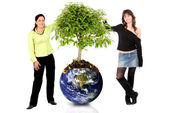 Women protecting the planet — Foto de Stock