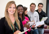 Students in a row — Stock Photo