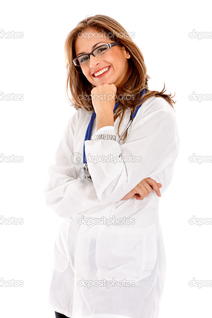 Friendly woman doctor smiling isolated over a white background  Stock Photo #7700999