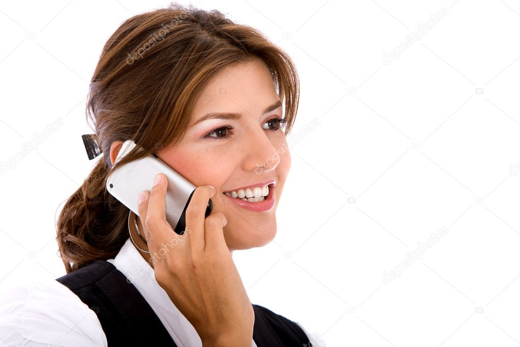 Business woman on the phone isolated over a white background  Stock Photo #7701457