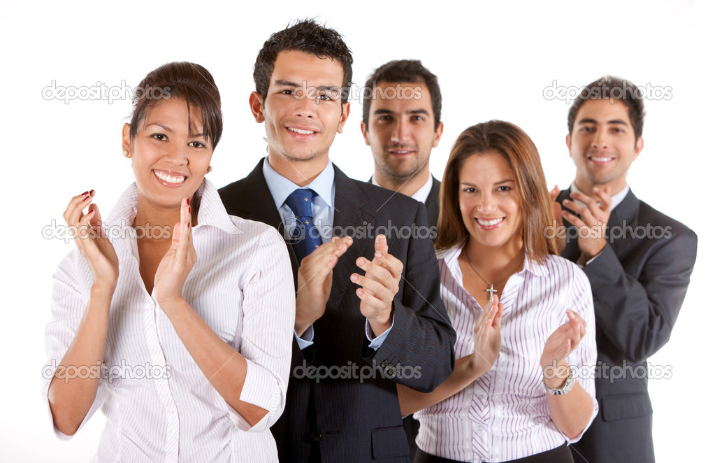 Business team clapping and smiling isolated over a white background — Photo #7702034