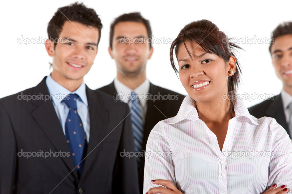 Business team smiling isolated over a white background — Stock Photo #7703660