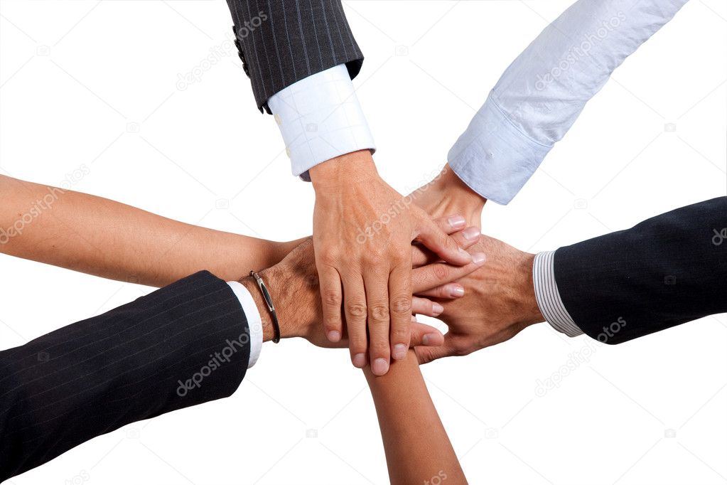 Business hands on top of each other - Isolated — Stock Photo #7703908