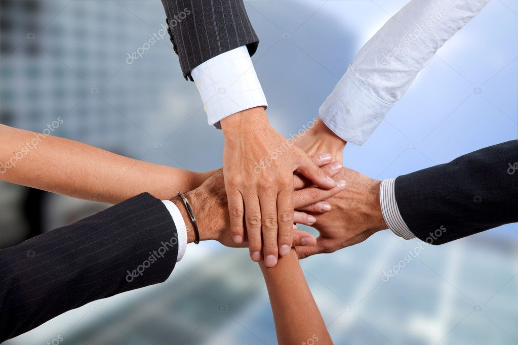 Business hands holding each other - togetherness concepts — Foto de Stock   #7703911