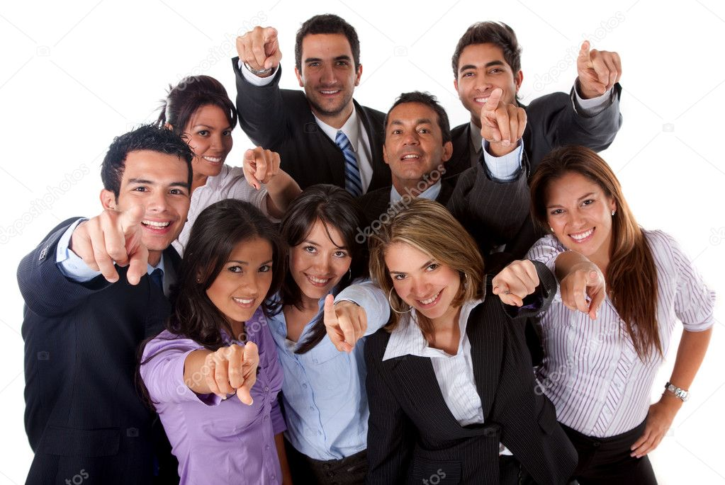 Business group pointing at the camera isolated — Stock Photo #7704714