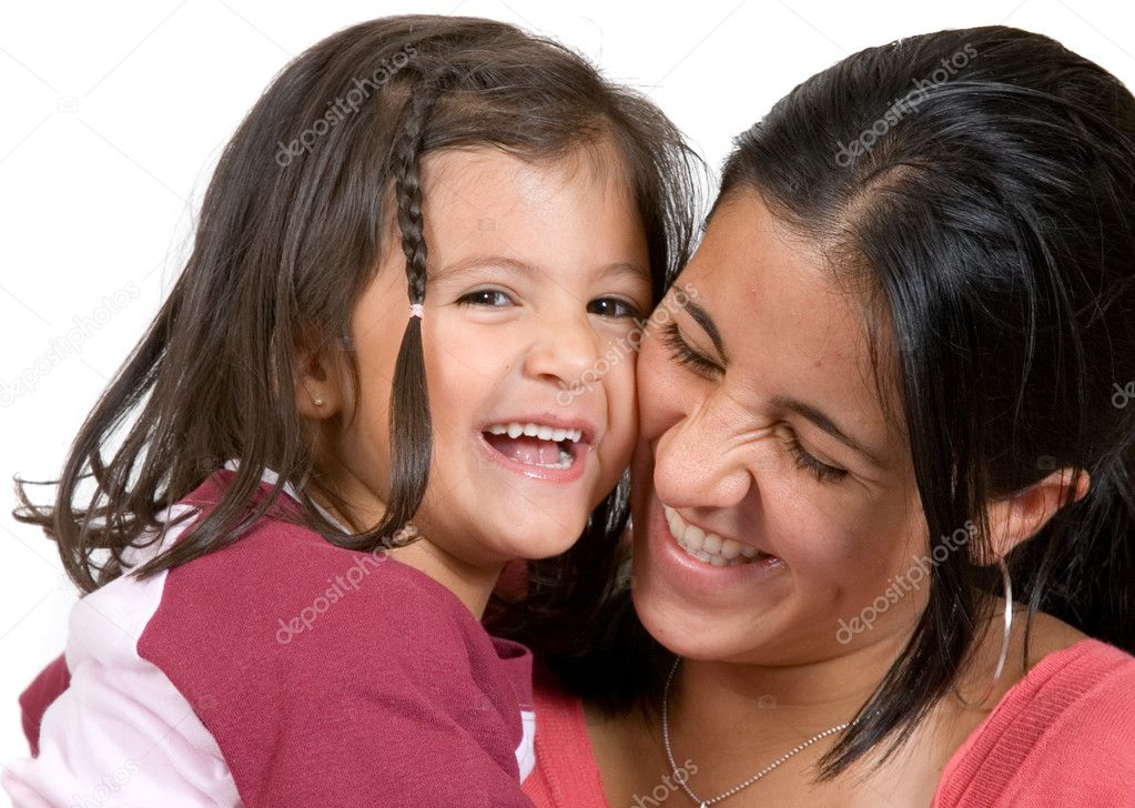 Girl with her mum having a laugh over a white background 2  Stock Photo #7704971
