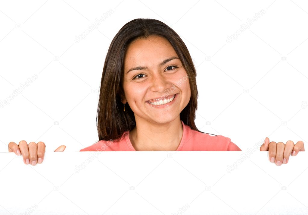 Beautiful girl smiling over card board over white — Stock Photo #7705189