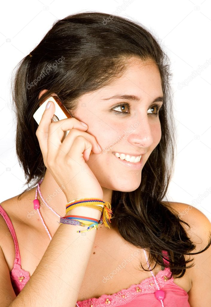 Beautiful girl talking on the phone over white — Stock Photo #7705446