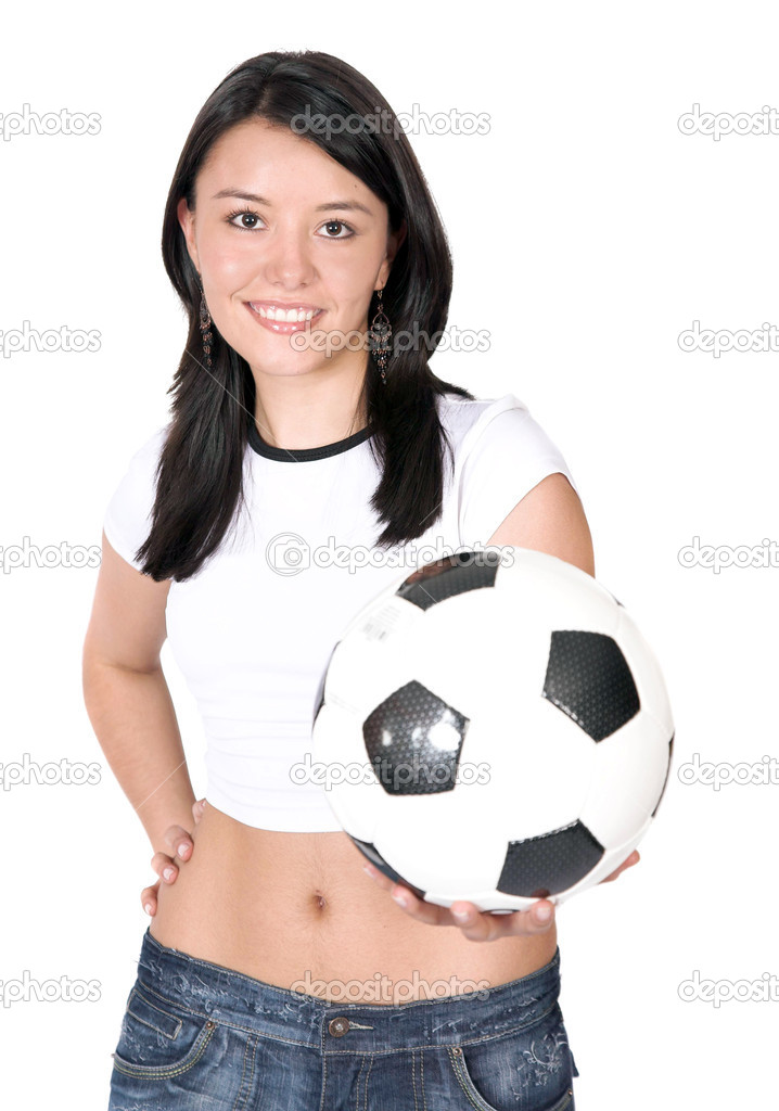 Beautiful female footballer over white — Stock Photo #7705519