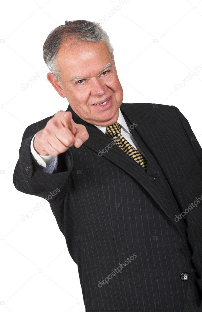 Business man pointing at you over a white background — Stock Photo #7706323