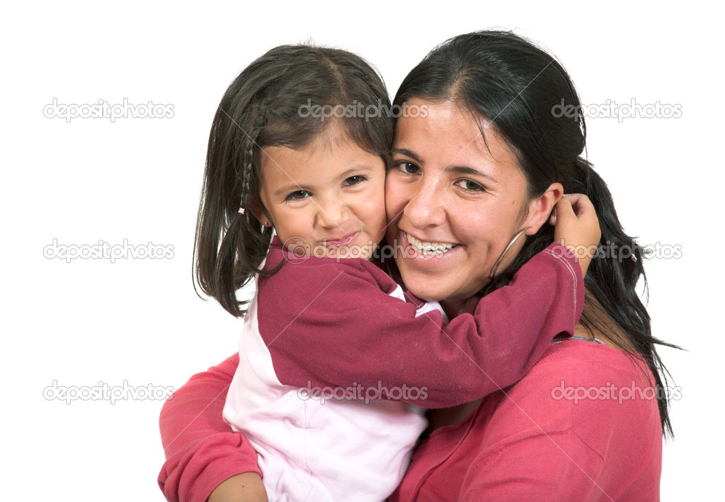 Beautiful mother and daughter over white — Stock Photo #7706485