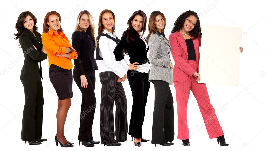 Group of business women holding a banner ad isolated on white  Stock Photo #7708530