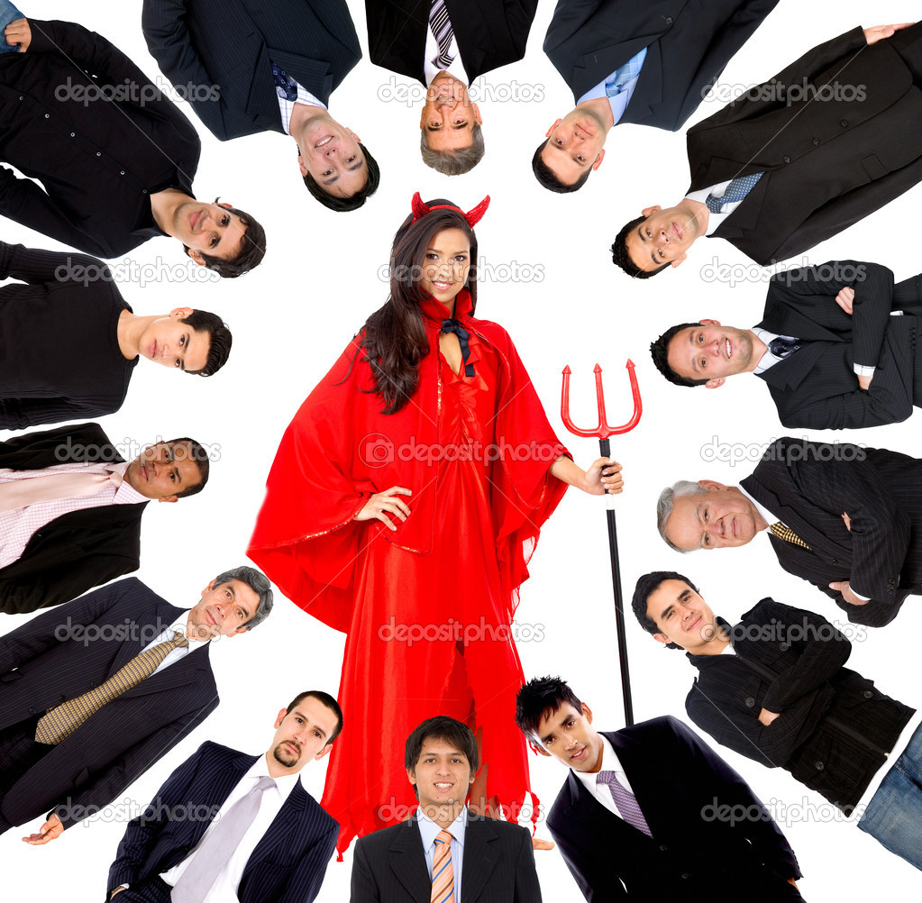 Woman tempting a group of business men isolated — Stock Photo #7708548