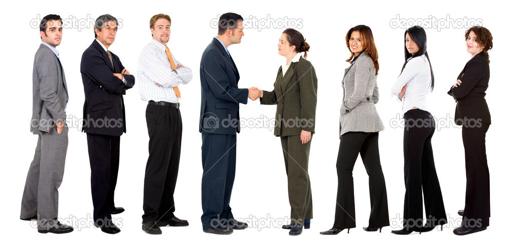 Business women making a deal with businessmen isolated — Stock Photo #7708550