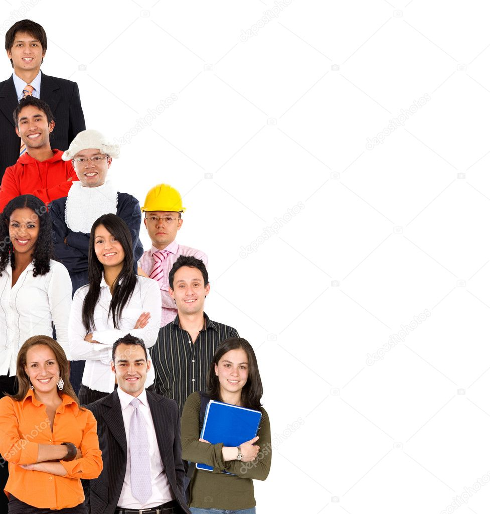 Group of with different professions isolated over white  Stock Photo #7708792