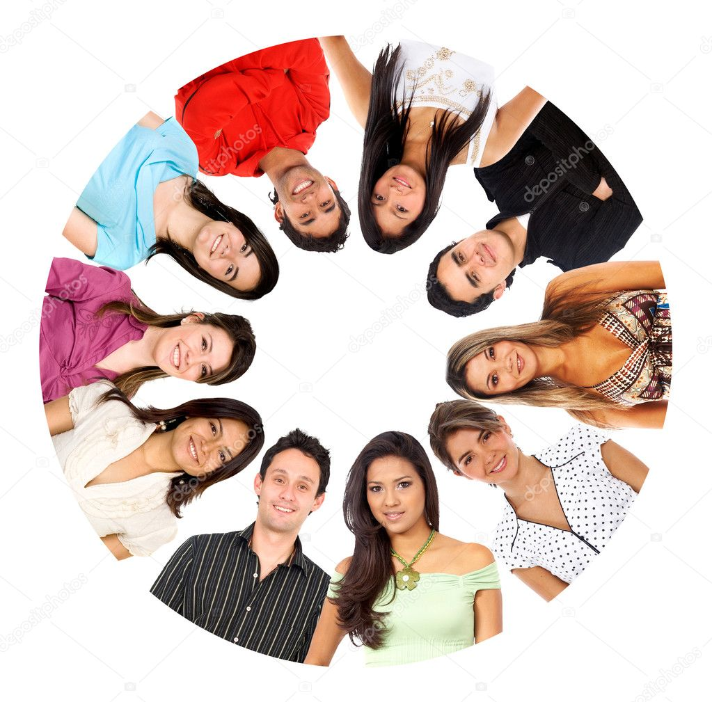 Circle of smiley isolated over white  Stock Photo #7708794