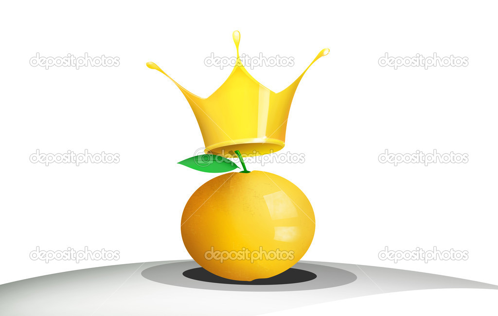 Illustration of an orange with a queen crown — Stock Photo #7709891