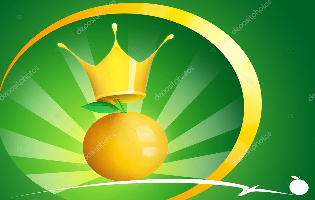 Illustration of an orange with king's crown — Stock Photo #7709894